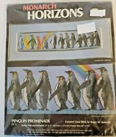 "Monarch Horizons Penguin Promenade 21""x5"" Counted Cross Stitch Kit 1983 Vintage"