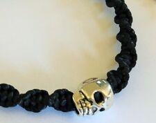 Silver coloured Skull on Black Twist Macrame Bracelet