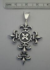 Sterling Silver 45x29mm 6 gram Cross with Fleur de lis Decorations Pendant Charm