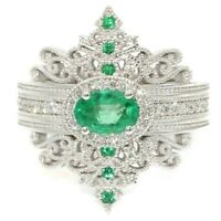 Gorgeous 925 Silver Wedding Rings for Women Oval Cut Emerald Ring Size 6-10