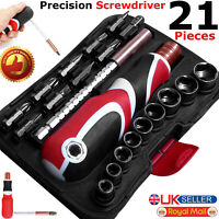 21Pcs Multi-Funtional Screwdriver Set Socket Tool Kit Heavy Duty Phillips Slotte