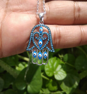 Natural Turquoise Gemstone Necklace 925 Sterling Silver Handmade Chain Jewelry