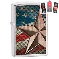 Zippo 28653 retro star and flag Lighter + FUEL FLINT & WICK GIFT SET