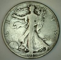 1919 Walking Liberty Silver Half Dollar Coin 50c US Coin Fine Fifty Cent Coin