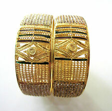 Indian Bollywood Gold Plated Stunning CZ Broad Costume Bangles Jewellery 2.8