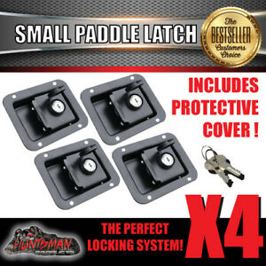 x4 Paddle Handle Lock Latch Black Powdercoated. Caravan Boat Ute Truck Toolbox