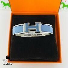 NEW HERMES CLIC CLAC RAINBOW BLUE SILVER HARDWARE H NARROW ENAMEL BRACELET PM