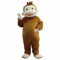 George Monkey Mascot Costume Clothing Halloween Party game Fancy Dress Adults A+