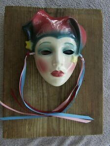 Vintage 1980s Ceramic Wall Mask Clay Art San Francisco 2/92 Star Jester? No Rese
