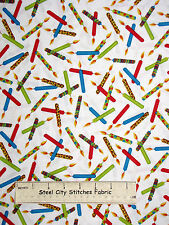 Kids Birthday Party Candles Toss White Cotton Fabric QT 23549-Z Party On YARD