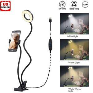 LED Selfie Ring Light Phone Holder Flexible Stand Long Arm for Stream Live Lamp