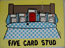 TODD GOLDMAN FIVE CARD STUD LITHOGRAPH LOW BROW SIGNED #34/350 W/COA