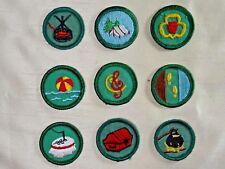 9 Assorted Vintage Girl Scouts Round Proficiency Merit Badges