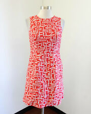 Shoshanna Red White Printed Sleeveless Cotton Dress Size 2 Pockets Casual