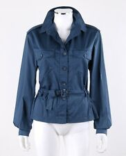 Vtg MISSONI SPORT c.1990s Slate Blue Button Front Belted Waist Shirt Trench Coat