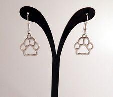 Silver Plated Paw Print Hook Earrings