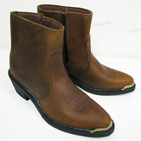 Men's Boots Cowboy Western Brown Genuine Leather Side Zipper Ankle Shoes Sizes