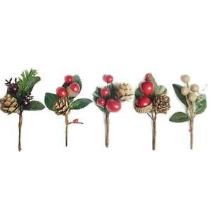 15 Pcs Artificial Flower Christmas Red Berry Pine Cone Decor Xmas Branch Q8G4