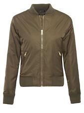 Ladies Womens MA1 Army Classic Padded Bomber Jacket Vintage Zip Up Biker Coat