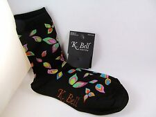 K.Bell Bright Lime green blue purple Leaves Cotton Ladies Crew Black Socks New