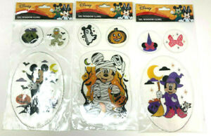 (3) Disney Mickey & Minnie Mouse Gel Window Cling Donald Halloween Witch Vampire
