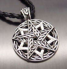 """New Fasion Men Pentacle Pentagram Star Pewter Pendant with 20"""" Choker Necklace"""