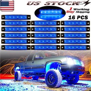 Blue 16 Pods LED Rock Lights Underbody Light For Jeep Offroad Truck UTV ATV Boat