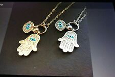 EVIL EYE& HAMSA PENDANT GOLD OR SILVER WITH CRYSTALS 24 INCH ADJUSTABLE CHAIN