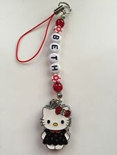 1 RED AND BLACK  HELLO KITTY  BAG / PHONE ds CHARMS PERSONALISED GIFT