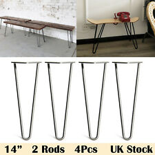 "4X Hairpin Table Legs 14"" Bare Steel 10mm Solid Steel Coffee Table Tea Side Mini"