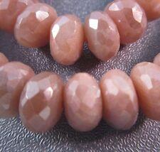 Sri Lanka Silverite/Sylvite Peach Moonstone Faceted Roundel 8-9mm Beads 7pcs