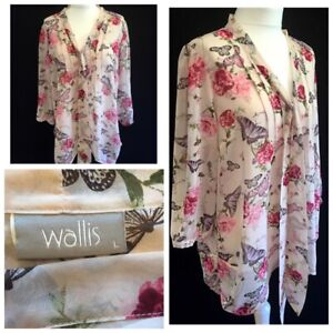 Beautiful Wallis Floral Butterfly Sheer Top Size L Special Occasion Ex Cond