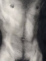NUDE Male drawing Bunkmate II NR 1/17/50 Realism Esteban Pencil, FREE SHIP