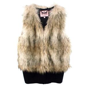 100% Authentic Juicy Couture Cornwall Faux Fur Vest Top Size M UK 10 12