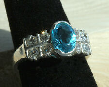 Very Pretty Vintage Sterling Silver Cz and Faux Blue Topaz ring