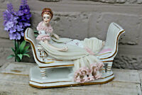 Vintage German dresde lace porcelain marked figurine statue