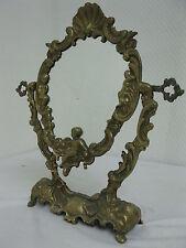 Alter Messing  Spiegel  Schminkspiegel Standspiegel  35cm Putto Engel Barockstil