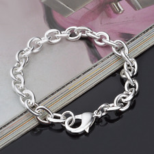 Fashion Men Women Unisex 925 Silver Plated Ring Link Charm Bangle Bracelet Chain