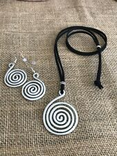 Spiral Metallic Earrings-Necklace Hammered Aluminum, Handmade, NEW
