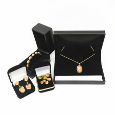 NYJEWEL Brand New 18k Gold Angel Skin Coral Brooch Earring Bracelet Necklace Set