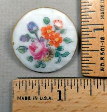 MENNECY French PORCELAIN BUTTON, 1800s Beautiful Painted Flower Design, LARGE