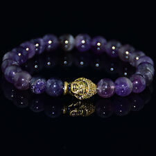 Men's Fashion Natural Amethyst Gold Buddha Lucky Energy Bracelet 8mm Bead