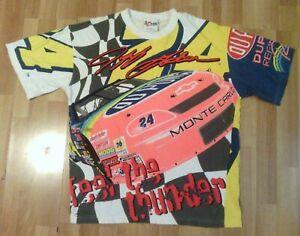 Jeff Gordon All Over Print NASCAR T-Shirt Feel The Thunder Vintage 90's XL USA