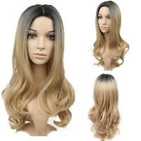 Women Fashion Long Wavy Hair Full Wig Black Root Blonde Ombre Wigs 22''