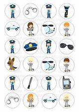 24 Polizia emergenza wafer / carta di riso per cupcake topper commestibili Fairy DECORAZIONI PER TORTA