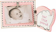 """PBK Wood 12"""" X 6"""" Baby Girl """"Our Little Peanut"""" Picture Frame 4"""" x 6"""" Photo Pink"""