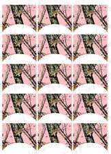 15 FRENCH NAIL TIPS *MOSSY OAK CAMO PINK*  Pink Camo WATERSLIDE NAIL DECALS