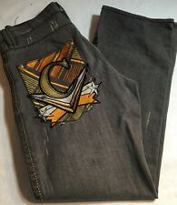 Coogi Mens Jeans Faded Black 34 x 34 Gold Embroidered Back Pockets Gold