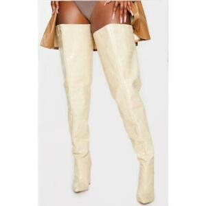 Fashion Women's Pu Over The Knee Knight Boots Pointed Toe High Heels Party Shoes