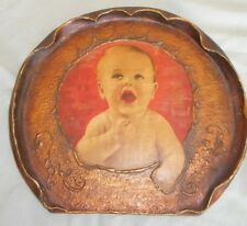 """BABY Colorized PHOTO VICTORIAN ERA circa 1900 Art Nouveau Carved Wood Frame 12"""""""